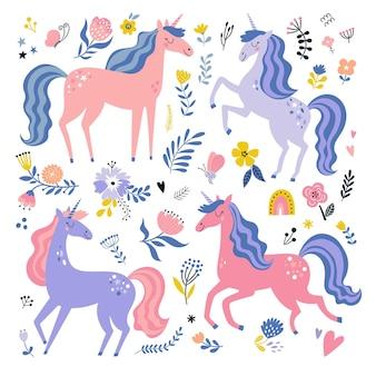 Ensemble d'images vectorielles enfantines avec des licornes collection de pépinière créative parfait pour la conception des enfants