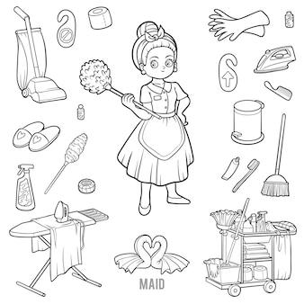 Ensemble d'images vectorielles avec femme de chambre et objets pour le nettoyage. articles en noir et blanc