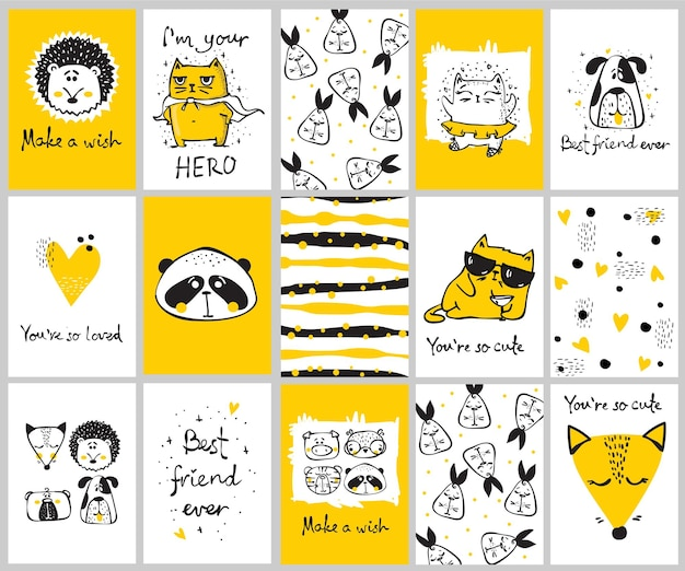Ensemble d'images vectorielles de jolies cartes de griffonnage isolées avec des animaux tribaux et d'autres images pour les intérieurs, les bannières et les affiches des enfants.