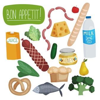 Un ensemble d'images vectorielles avec de la nourriture jambon pain légumes lait fromage saucisses poisson bretzel