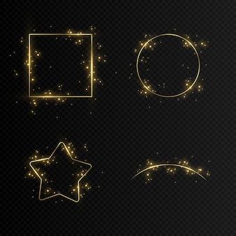 Ensemble d'images vectorielles en or.