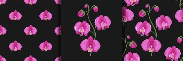 Ensemble d'imprimés de broderie d'orchidées et de motifs sans couture fonds d'écran de mode imprimés textiles et t-shirts