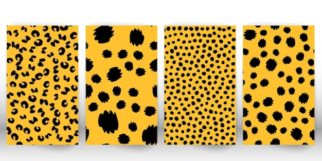 Ensemble d'imprimés léopard. peau de panthère. motif de tissu rétro. texture de fourrure tachetée. léopard imprimé animal.