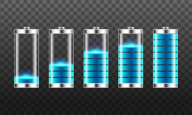 Ensemble d'indicateurs de charge de batterie avec des niveaux d'énergie faibles et élevés