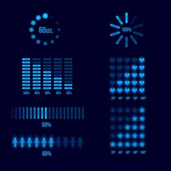 Ensemble d'indicateurs de chargement de progression. charger et télécharger, télécharger l'élément