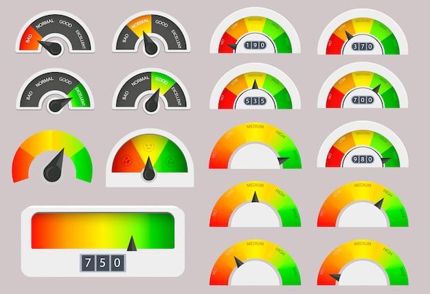 Ensemble d'indicateurs et de jauges de pointage de crédit aux entreprises. indicateurs de satisfaction client avec des niveaux faibles et bons.
