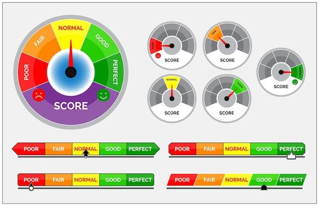 Ensemble d'indicateurs de score ou de niveau de compteur d'évaluation ou de concept d'indicateur de compteur de vitesse de jauge
