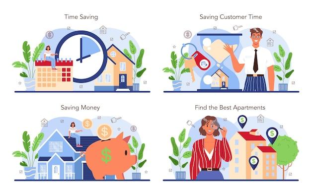Ensemble de l'industrie immobilière, un agent ou un courtier immobilier qualifié aide un client