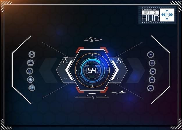 Ensemble d'infographie bleu futuriste comme affichage tête haute. affichez les éléments de navigation pour le web et l'application.