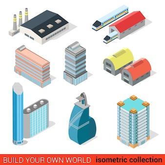 Ensemble d'infographie de bloc de construction de gratte-ciel plat isométrique ville centre de bureau d'affaires dépôt de train de chemin de fer construisez votre propre collection mondiale d'infographie