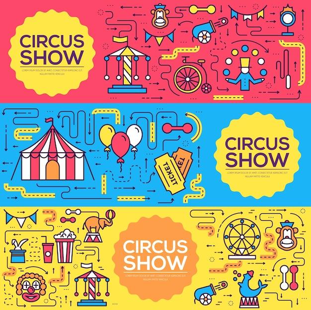 Ensemble d'infographie d'icônes de contour de cirque de qualité supérieure