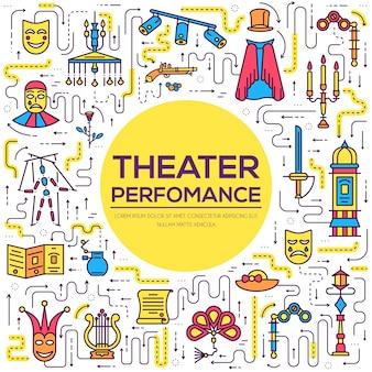 Ensemble d'infographie d'icônes de contour de théâtre de qualité supérieure