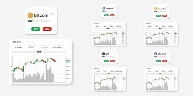 Ensemble d'infographie sur le marché de cypto bitcoin xrp litecoin stellaire bnb