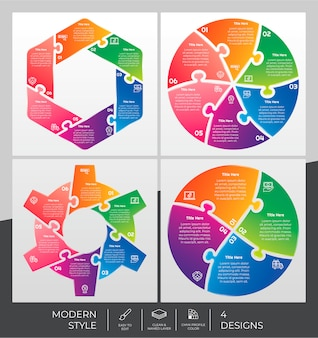 Ensemble d'infographie avec style moderne et concept de puzzle à des fins de présentation, d'affaires et de marketing.