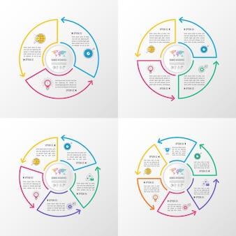 Ensemble infographique d'affaires avec 3, 4, 5 et 6 options