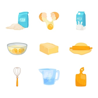 Ensemble d'ingrédients de cuisson