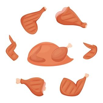 Un ensemble d'ingrédients de poulet grillé. poitrine de poulet frite cuite, cuisse, aile, tibia. un poulet entier.