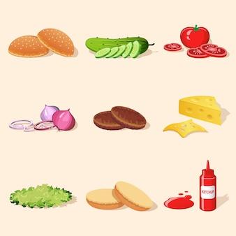 Ensemble d'ingrédients pour hamburger