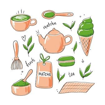 Ensemble d'ingrédients de thé matcha dessinés à la main et éléments de cérémonie traditionnelle, tasse, cuillère, feuille de matcha.