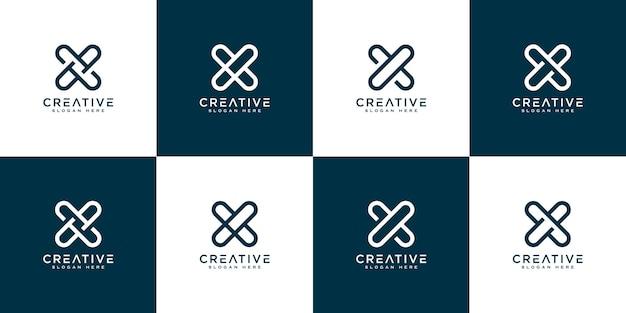Ensemble d'initiales lettre x logo abstrait