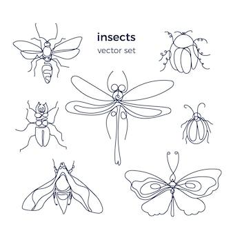 Ensemble d'insectes bee bug papillon dutterfly line art graphique signe collection d'animaux