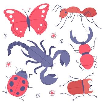 Ensemble d'insectes dessinés à la main isolé