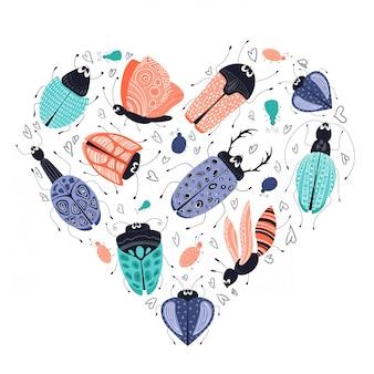 Ensemble d'insectes ou de scarabées