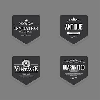 Ensemble d'insigne ancien luxe étiquette vintage.