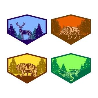 Ensemble d'insigne animal de la vie sauvage crocodile ours cerf porc