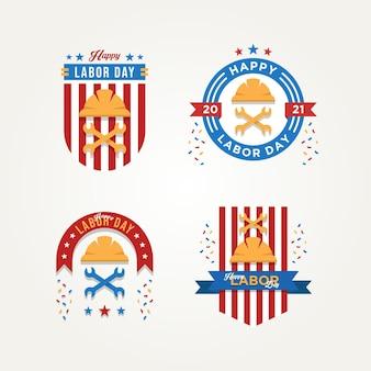 Ensemble d'insigne de célébration de la fête du travail logo icône vector illustration design