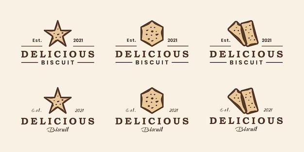 Ensemble d'insigne de conception de logo de biscuit délicieux, vintage minimaliste de style rétro