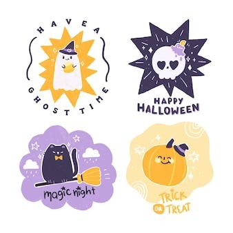 Ensemble d'insigne d'halloween dessiné à la main.