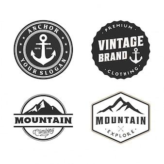 Ensemble d'insigne et logo vintage