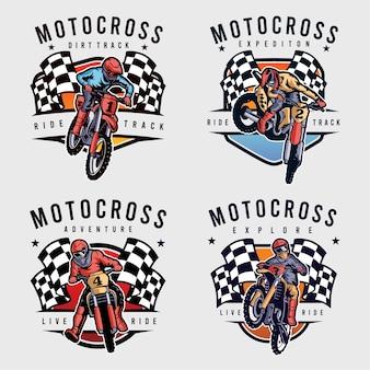Ensemble d'insigne de motocross