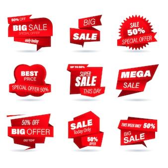 Ensemble d'insigne de vente au détail. autocollants de style origami de magasinage en ligne pour les publicités et bannières de médias sociaux, badges de site web, marketing, étiquettes et autocollants pour le modèle de promotion des produits. illustration.