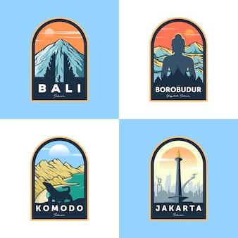 Ensemble d'insigne de voyage indonésie