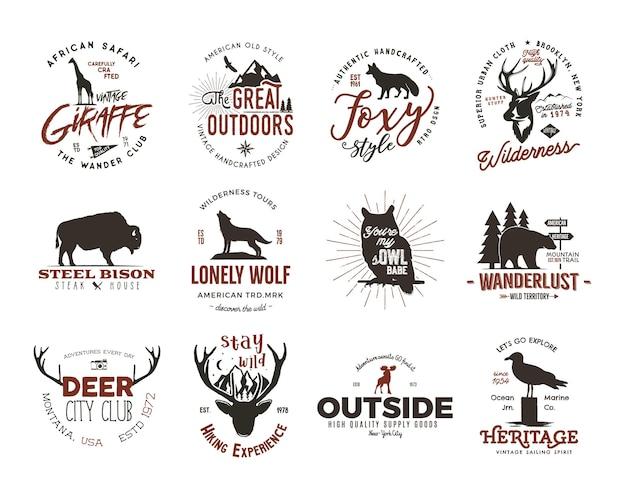 Ensemble d'insignes d'animaux sauvages et insignes d'activités de plein air. illustration rétro des insignes d'animaux. style de camping de typographie. logos de badges animaux vectoriels avec effet typographique. citations d'explorateur personnalisées