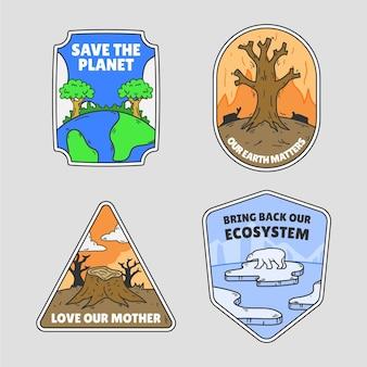 Ensemble d'insignes de changement climatique dessinés à la main