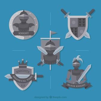 Ensemble d'insignes de chevaliers d'armure dans le design plat