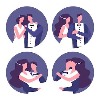 Ensemble d'insignes de couples de mariage
