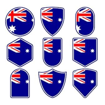 Ensemble d'insignes de drapeau de l'australie