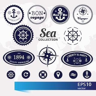 Ensemble d'insignes, d'étiquettes et d'icônes nautiques rétro vintage - vecteur