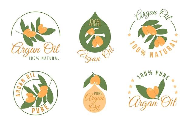 Ensemble d'insignes d'huile d'argan plat biologique