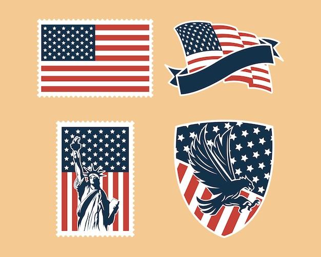 Ensemble d'insignes d'indépendance des états-unis