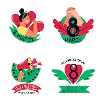 Ensemble d'insignes de la journée internationale des femmes dessinés à la main