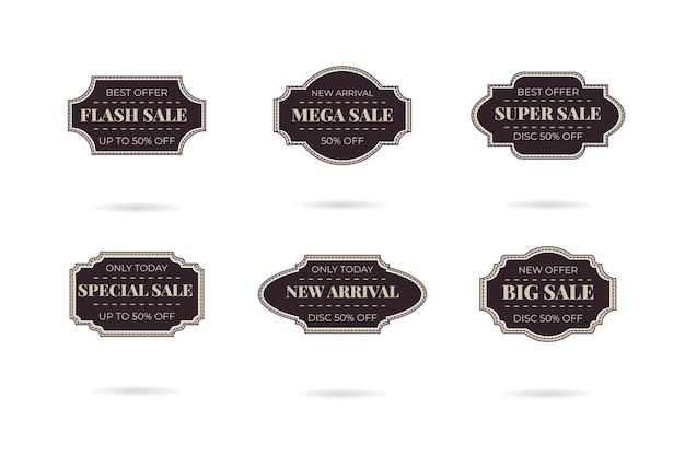 Ensemble d'insignes de logo de vente vintage rétro