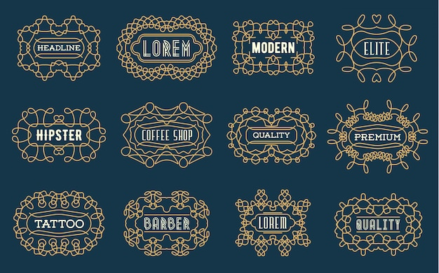 Ensemble d'insignes de luxe logotypes modèle design rétro ligne art style vintage victorien swash éléments