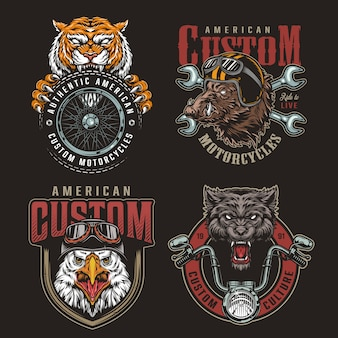 Ensemble d'insignes de mascottes de motards animaux colorés