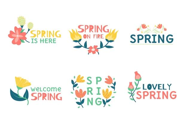 Ensemble d'insignes de printemps dessinés à la main