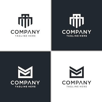 Ensemble d'inspiration abstraite de logo mm lettre créative monogramme.